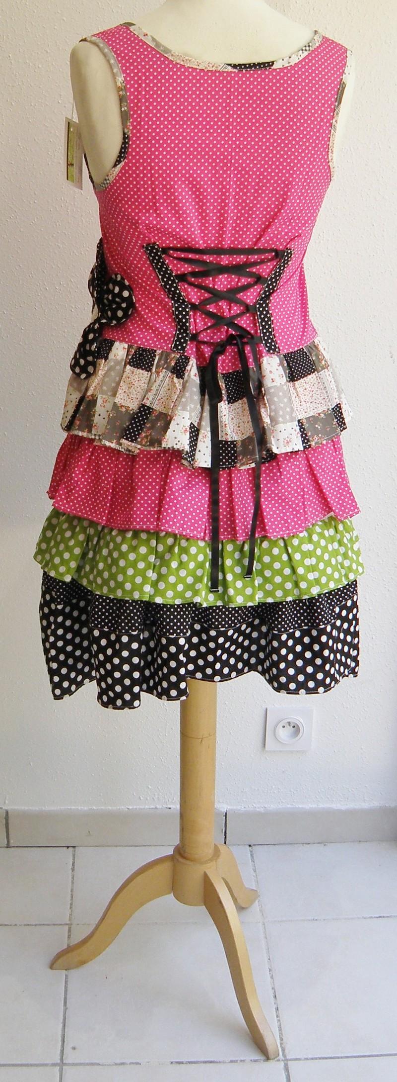 Robe en coton pulpe noir et vert anis T38/40 (015)-3134