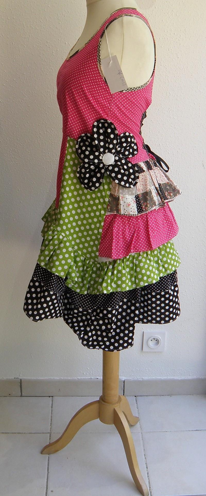 Robe en coton pulpe noir et vert anis T38/40 (015)-3133
