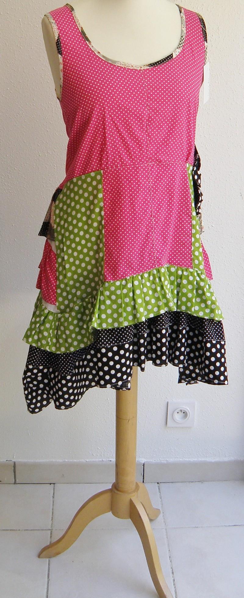 Robe en coton pulpe noir et vert anis T38/40 (015)-3131