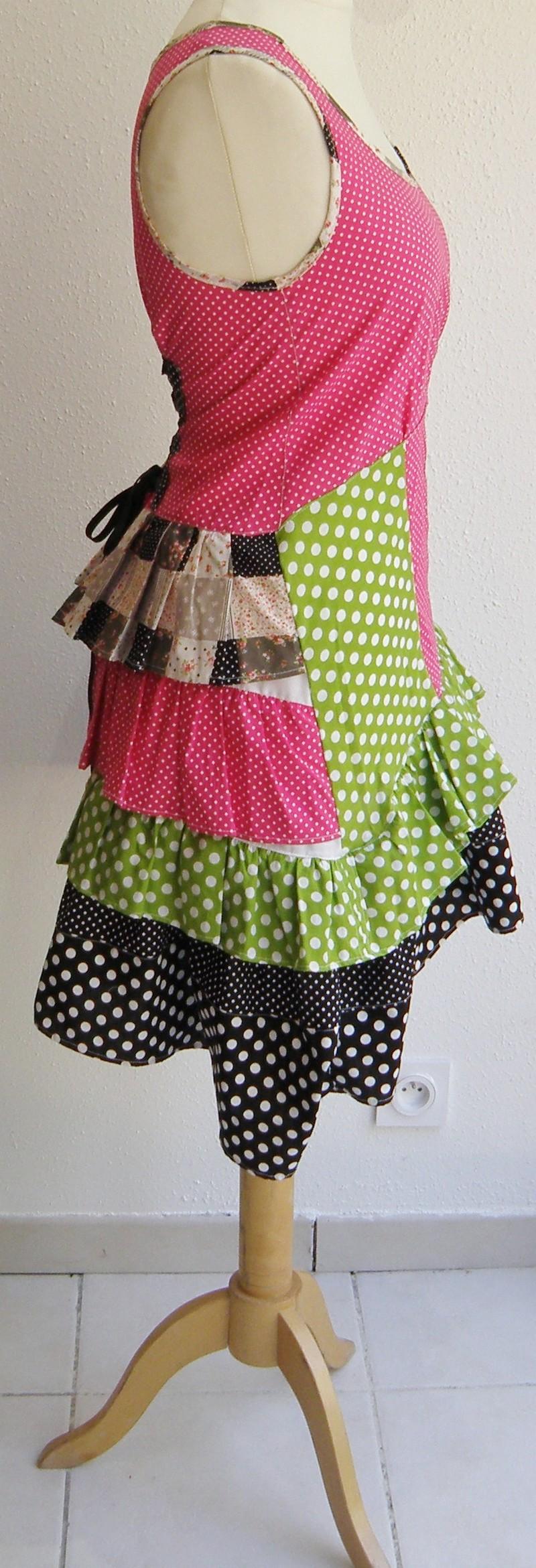 Robe en coton pulpe noir et vert anis T38/40 (015)-3129