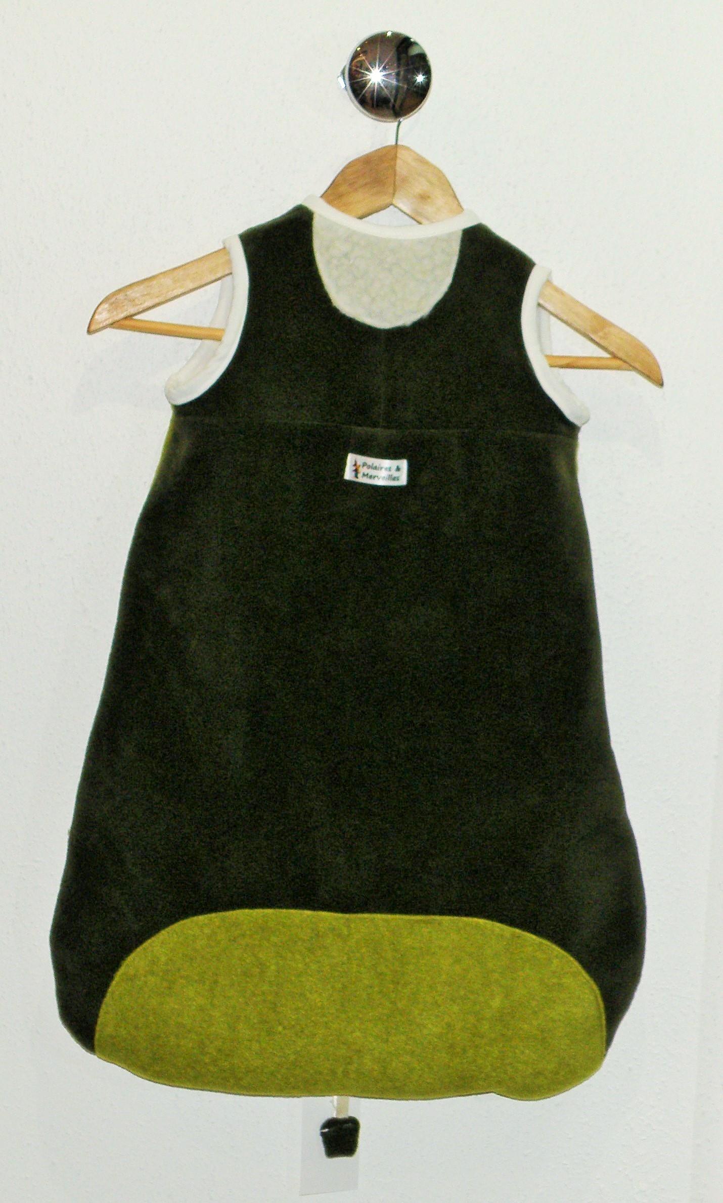 Gigoteuse en polaire garçon vert sapin, anis et écru T 6 mois-3500