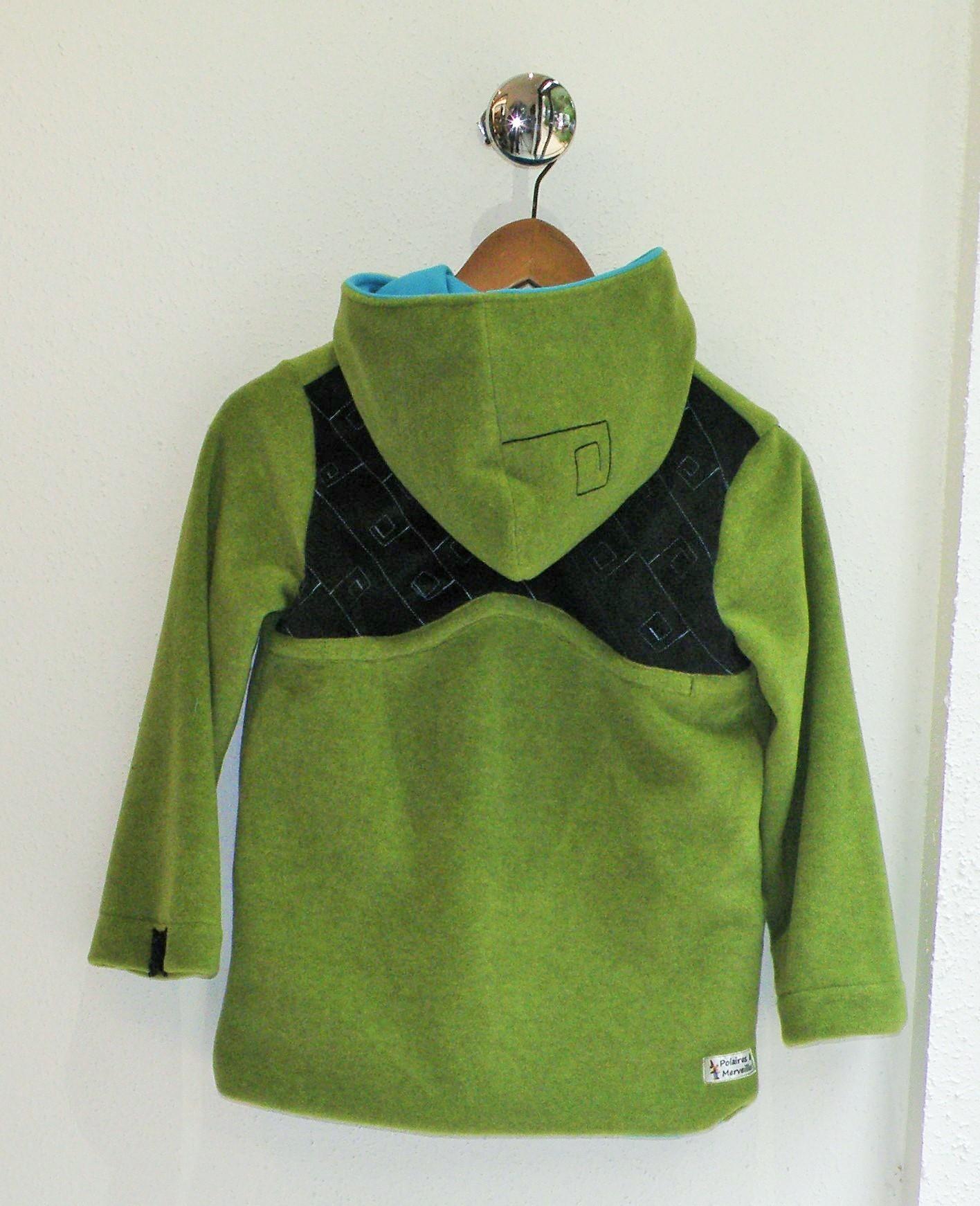 Veste polaire anis et turquoise et velours noir -3567