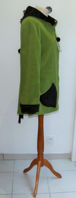 Polaire col lutin à lacets vert jeune pousse écru et choco T44-3803