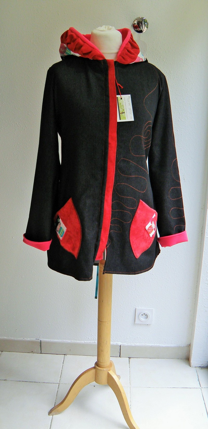 Veste jean lutin doublée micro pink + coton poupée chinoise fond blanc 42/44-5166