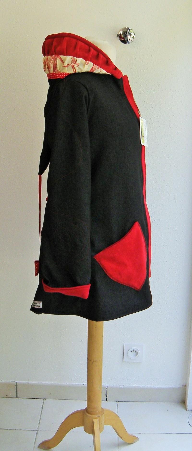 Veste lutin en jean noir doublée micro rouge + coton ecru/rouge T40-5173