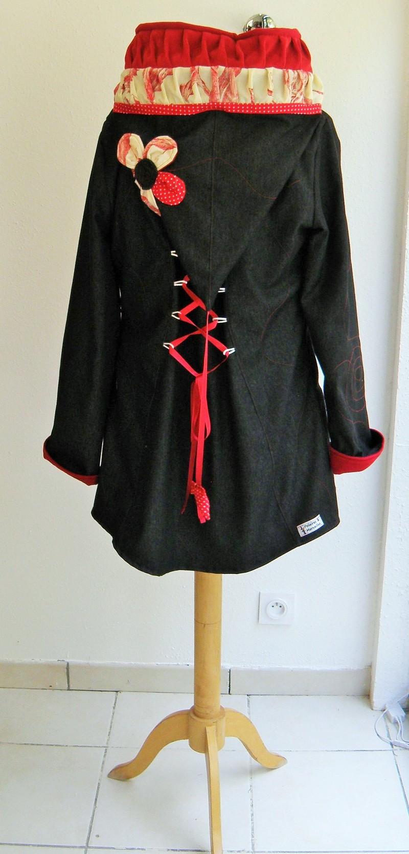 Veste lutin en jean noir doublée micro rouge + coton ecru/rouge T40-5171