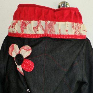 Veste lutin en jean noir doublée micro rouge + coton ecru/rouge T40-5174