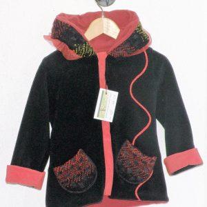 Veste polaire lutin noire doublée rouge + laine foulée-5329
