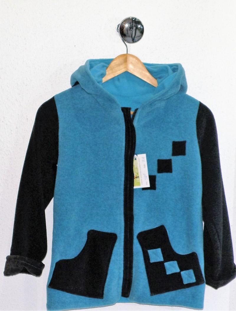 Veste polaire turquoise et anthracite capuche ronde-5415