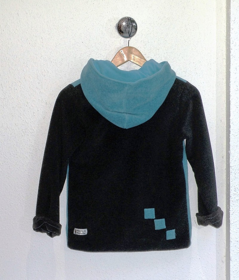 Veste polaire turquoise et anthracite capuche ronde-5414