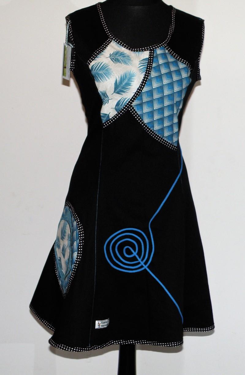 Robe à lacets dos en gabardine de coton noir et bleu T 40
