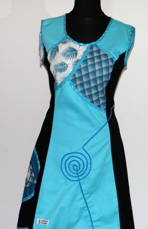 Robe en gabardine de coton noir et coton turquoise T 40