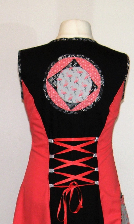 Robe en gabardine de coton noir et coton corail T42