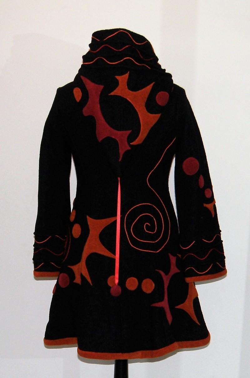 Manteau lutin en laine bouillie noire Taille 40