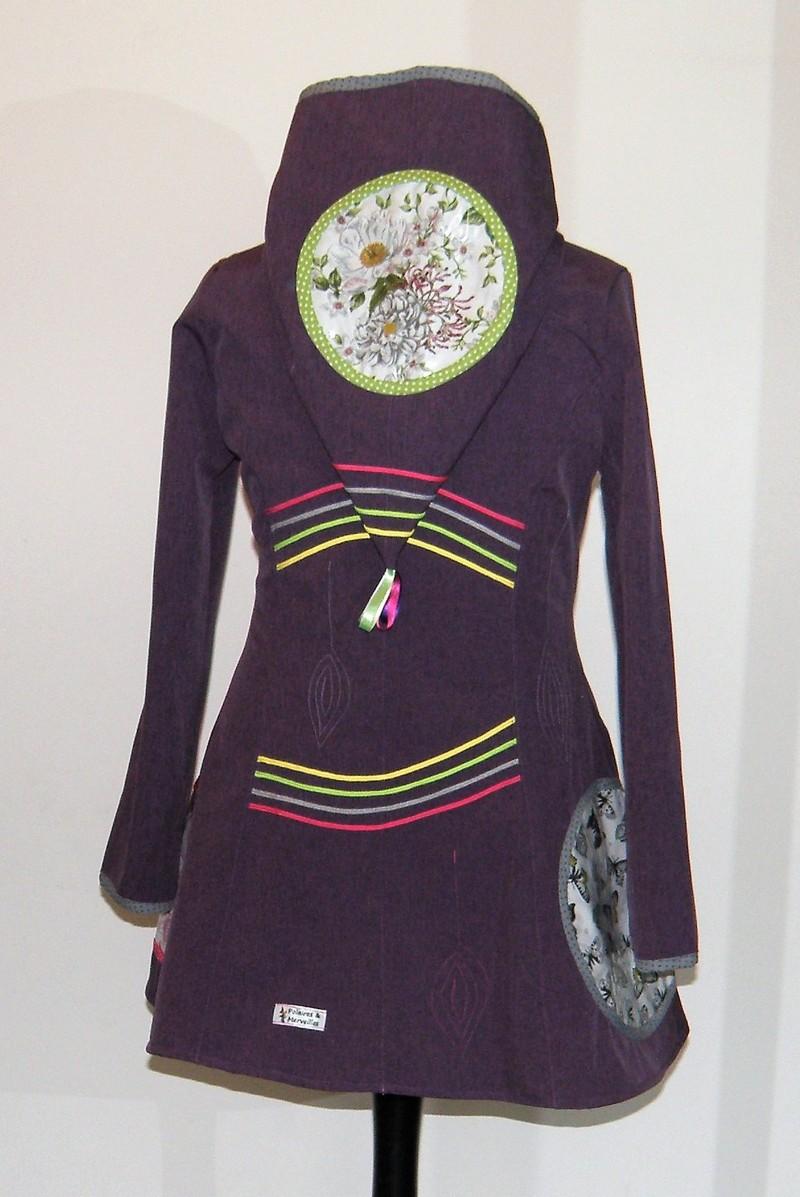 Veste lutin princesse en Softshell violet chiné T42