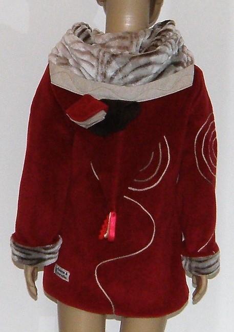 Veste lutin en polaire velours rouge et fausse fourrure givré beige
