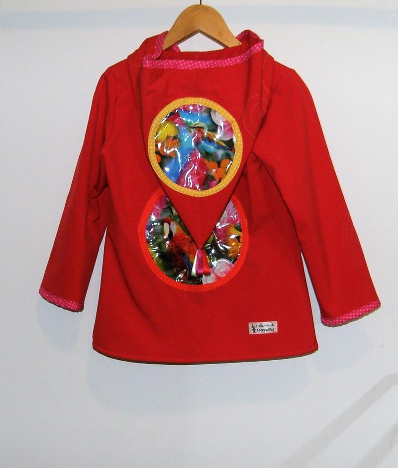 Veste lutin en softshell rouge vif «perroquet»
