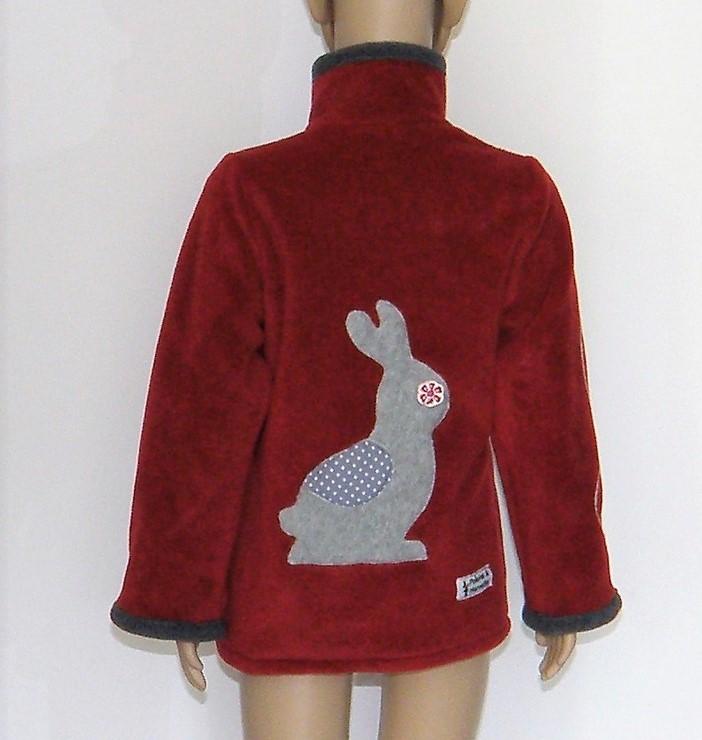 Veste col en polaire velours rouge et gris non doublée