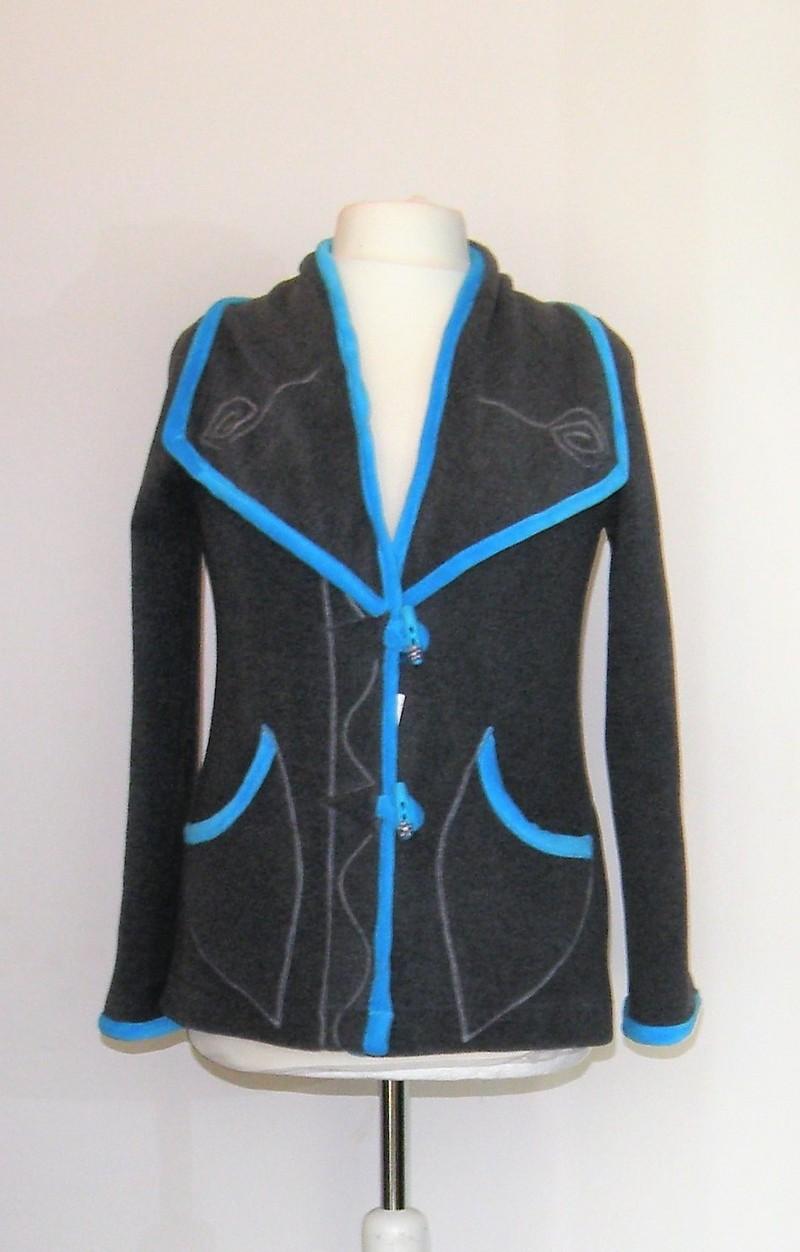 Veste col tailleur en micro polaire grise et velours turquoise T 40