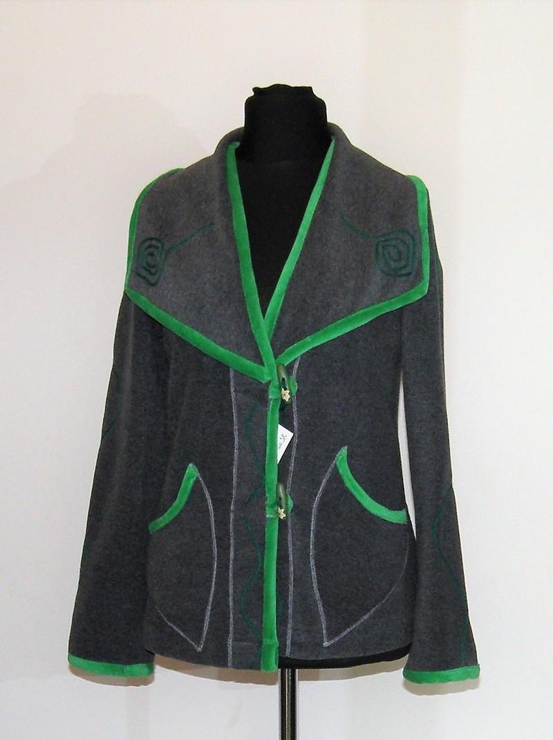 Veste col tailleur en micro polaire grise et velours vert T38
