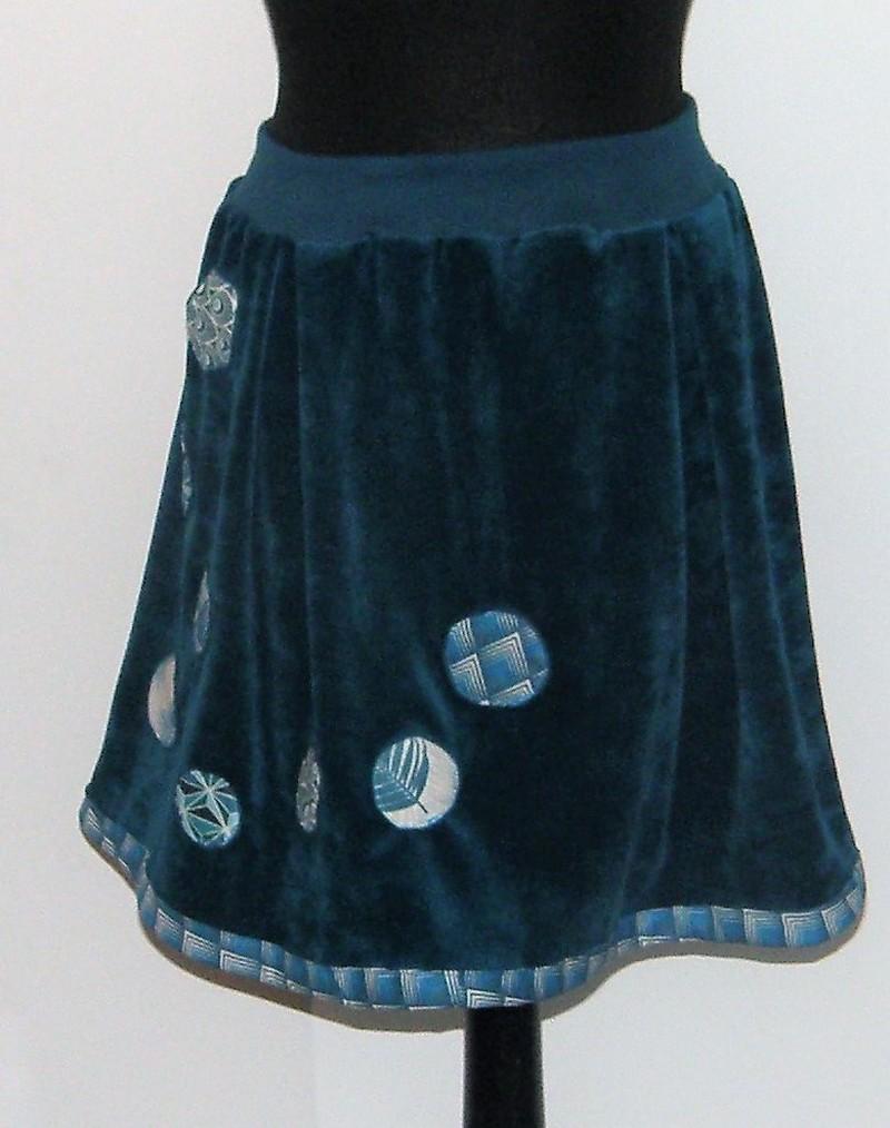 Jupe en velours sea blue et coton taille M/L
