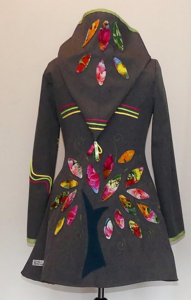 Veste princesse lutin gris chine en Softshell et multicolore T40/42