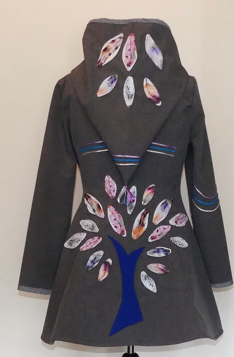 Veste lutin princesse en Softshell gris chine et coton plume T42/44