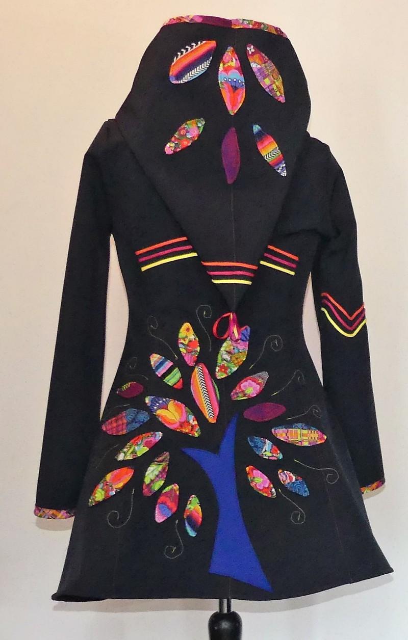 Veste princesse lutin en softshell marine et coton multicolore T38/40