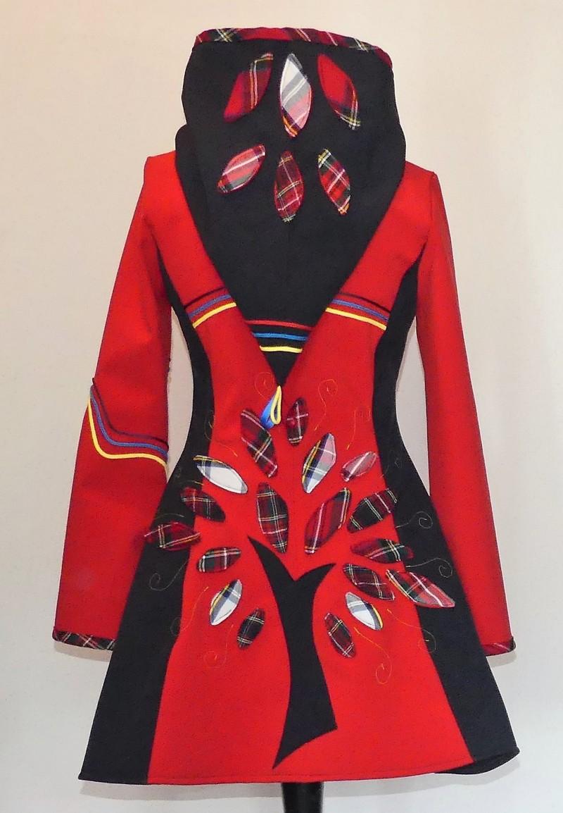 Veste princesse lutin en softshell rouge et marine + écossai T36/38