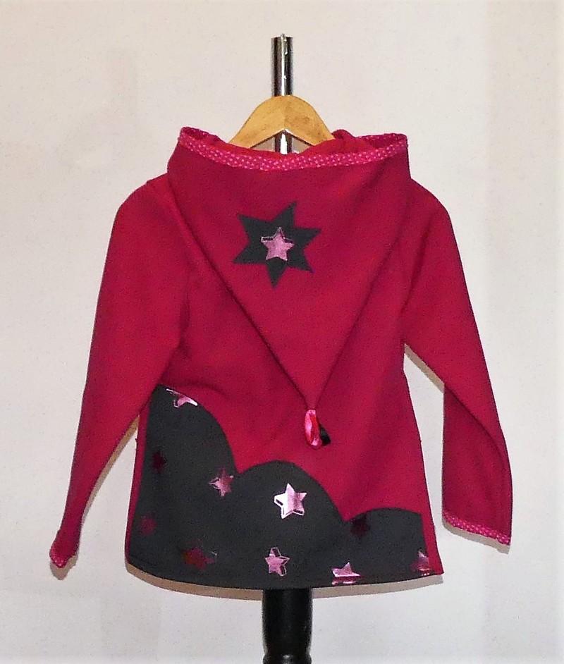 Veste lutin pour fille en Softshell fuchsia + étoiles