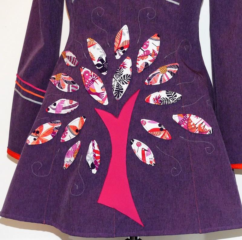 Veste lutin princesse en Softshell violet chiné T 42/44