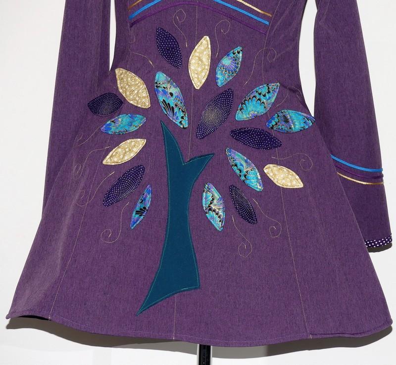 Veste lutin princesse violet chiné + coton indien T40/42