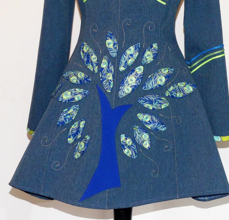 Veste lutin princesse en Softshell bleu jean et «Paon» 38/40