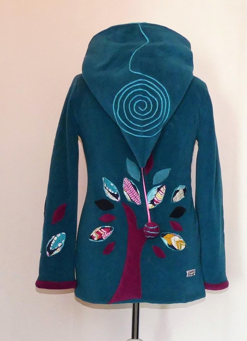 Veste longue lutin en polaire sea blue et turquoise T40