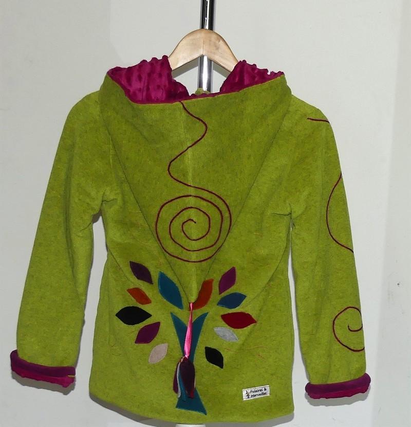 Veste polaire lutin vert anis et pulpe + arbre de vie