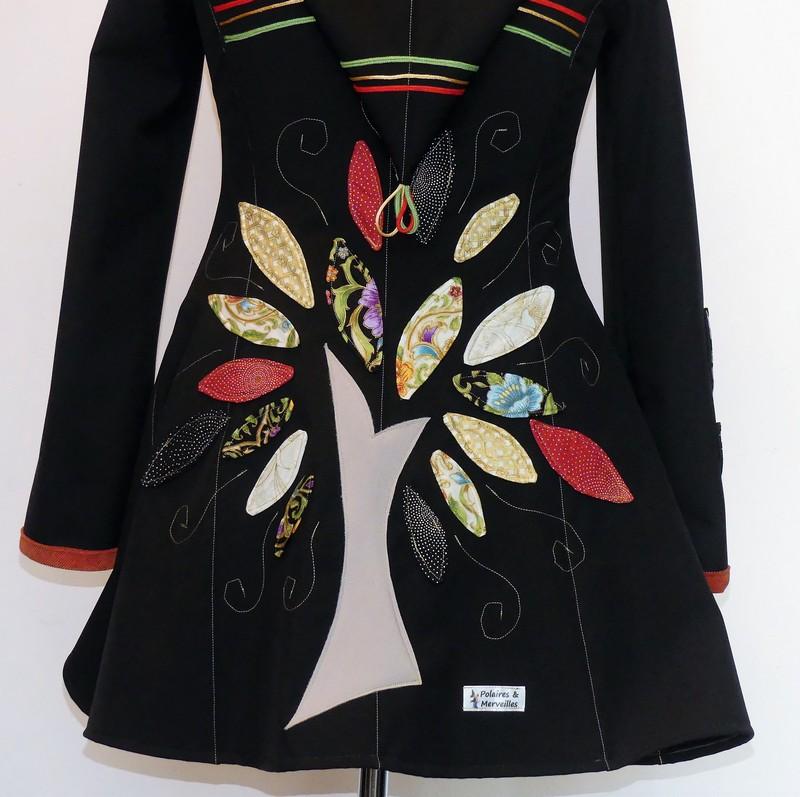 Veste lutin princesse en softshell noir et coton «style indien» T38/40