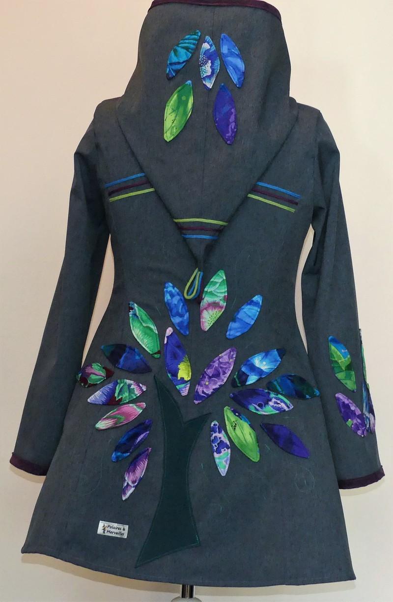 Veste lutin princesse en softshell bleu jean » camieu bleu/violet»T42/44