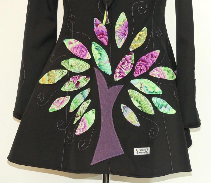 Veste lutin en softshell noire et camaïeu de vert/violet T42/44