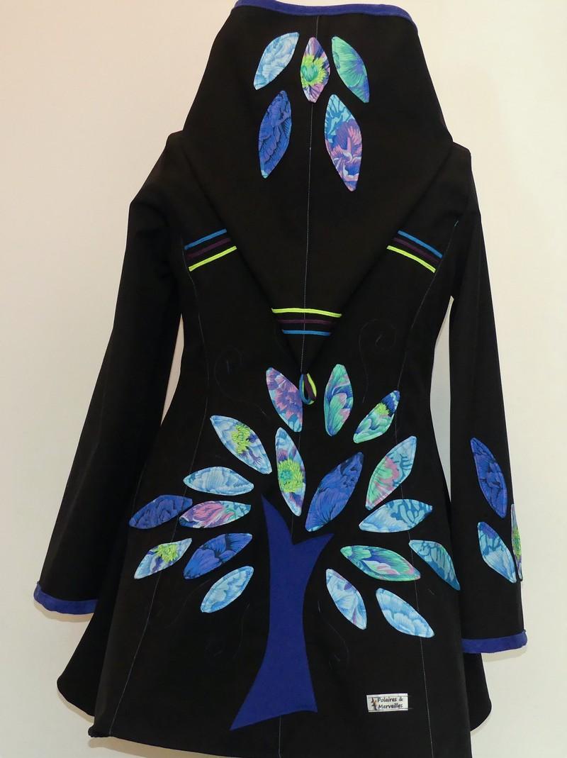 Veste lutin en softshell noire et coton camaïeu de bleu T44/46