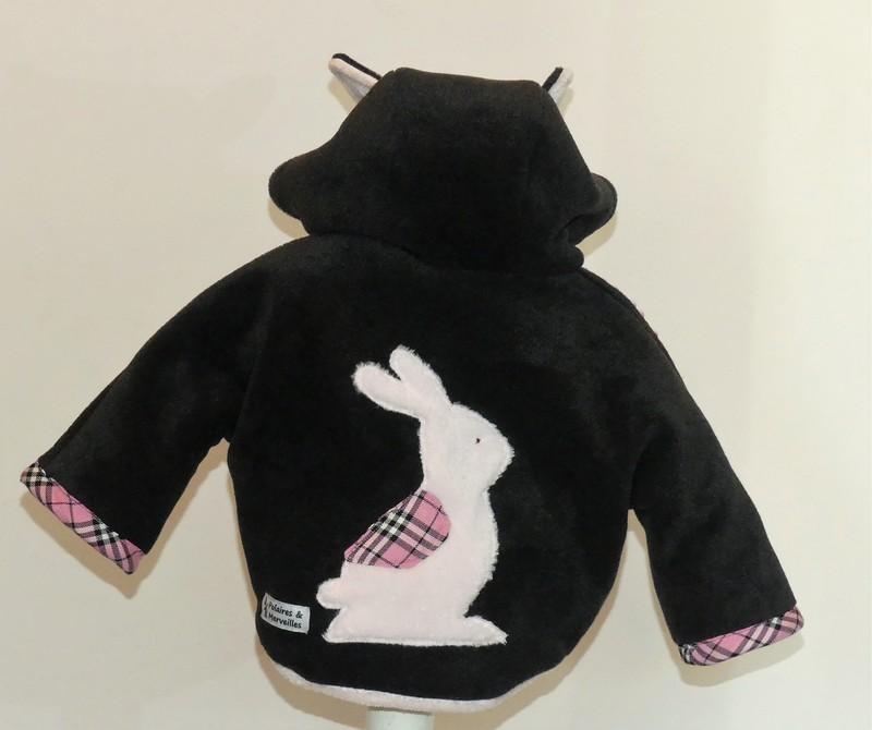 Veste polaire bébé fille anthracite et rose clair T3 mois
