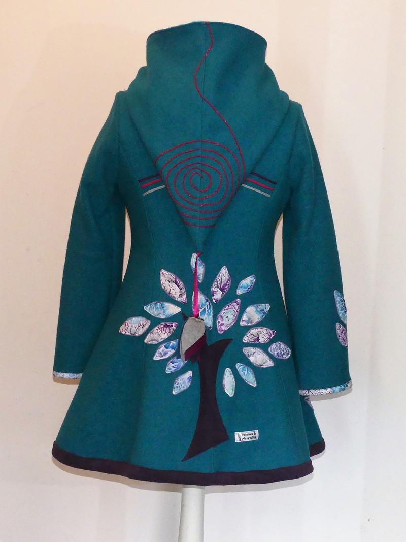 Veste princesse col en laine bouillie turquoise T 42