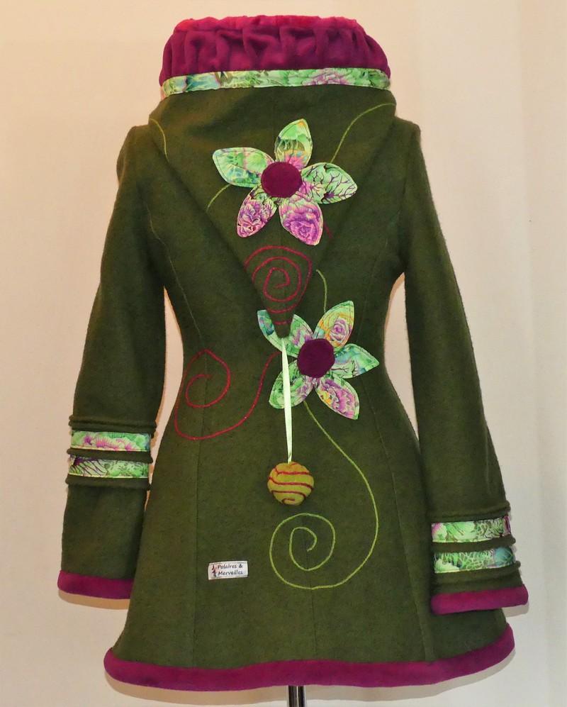 Veste princesse lutin en laine bouillie vert mousse doublée minky pupe T38