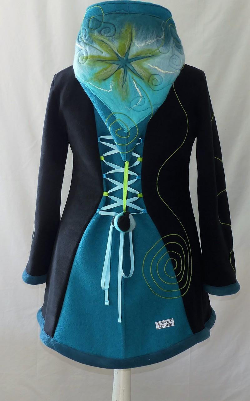 Veste à lacets en polaire noire et laine bouillie turquoise T42