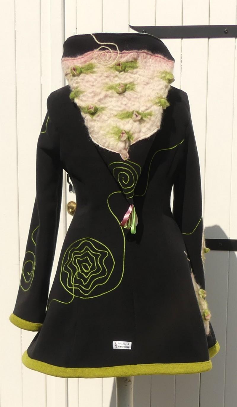Veste princesse lutin en polaire velours noire et minky vert d'eau + laine cardé T40