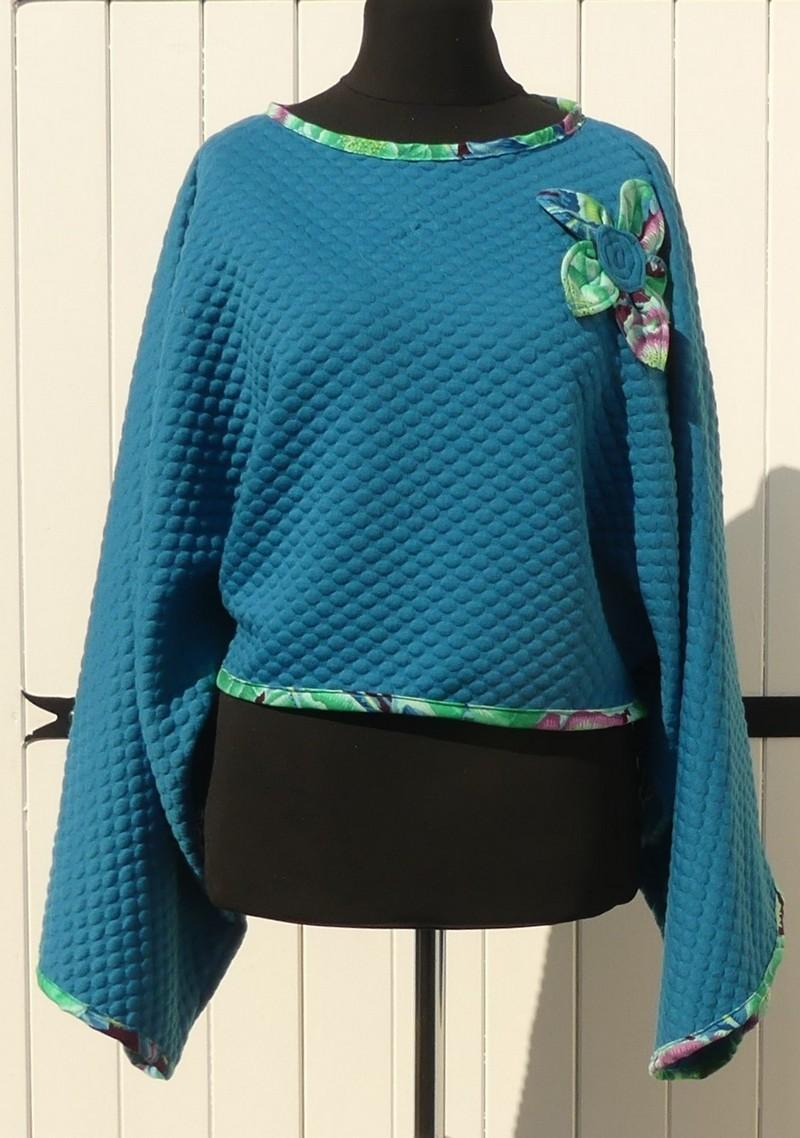 Poncho kimono court en jersey matelassé sea blue et green TU