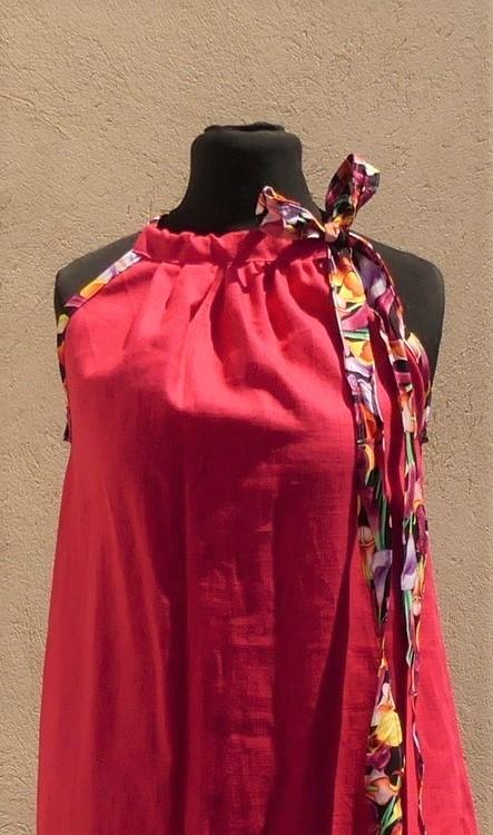 Robe en lin fuchsia à épaules dénudées taille 40/42